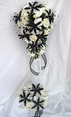 Wedding Bouquet Set Black Crystal Flowers, Roses