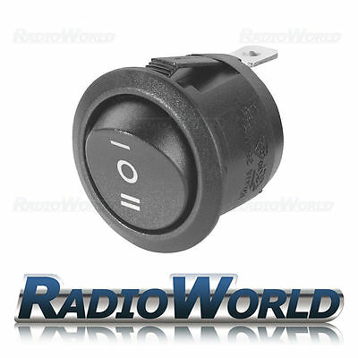 12v 20A On/Off/On Black Round 20mm Round Rocker Switch Car Dash Automotive SPDT