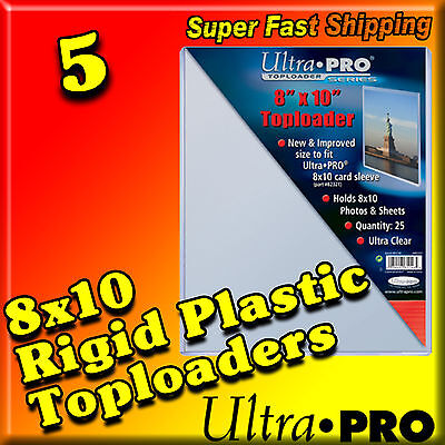 5 8x10 ULTRA PRO RIGID TOPLOADERS PHOTO HOLDER SLEEVES 81146-5