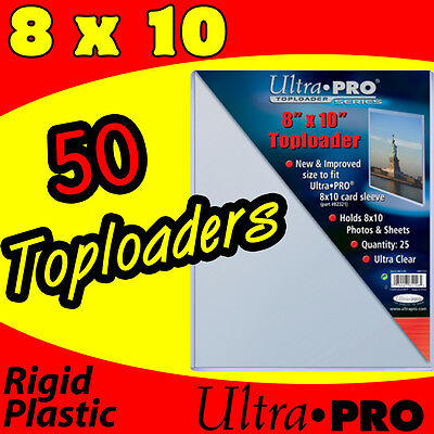"""50 NEW ULTRA PRO TOPLOADERS 8"""" x 10"""" for 8x10 PHOTOS 81146-50"""