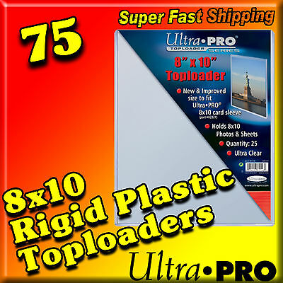75 8x10 ULTRA PRO RIGID TOPLOADERS PHOTO HOLDER SLEEVES