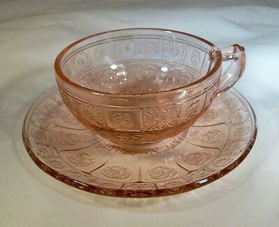 Jeannette Glass Co. Doric & Pansy Pretty Polly Pink Child's Cup & Saucer Set!