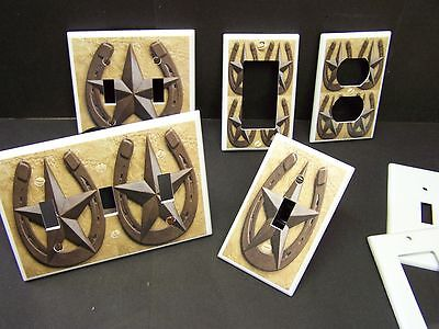 Barn Star Lucky Horseshoe  Light Switch Cover Plate Rustic Western Decor