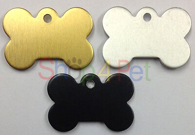 Dog ID Tag Dog Bone Shaped PET Tags Engraved FREE BOTH SIDES GOLD /SILVER/ BLACK
