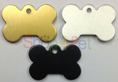 Pet ID Tag Dog Bone Shaped Tags Engraved FREE BOTH SIDES, GOLD - SILVER or BLACK
