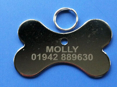 Pet ID Tag - Sliver Nickel Dog Bone Shaped Tags, Engraved Free on One Side
