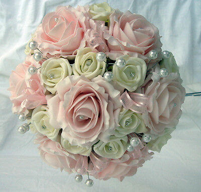 Bridesmaid  Posy Pink & Ivory Roses Diamante And Pearls