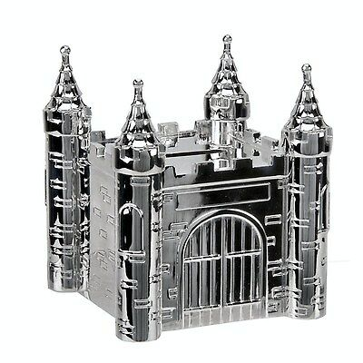 Personalised Silver Castle Money Box Christening Gift Engraved Free