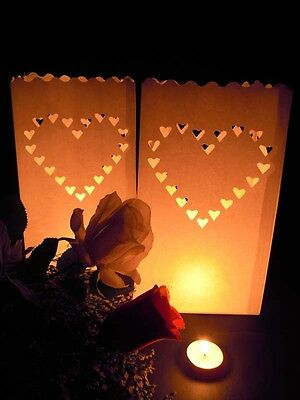 20 Large Hearts Wedding Outdoor Path Tea Light Candle White Paper Bag Lantern