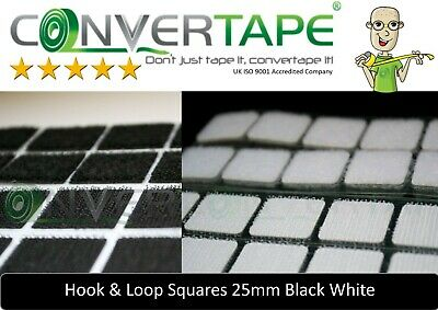 Self Adhesive Sticky Backed Hook Loop Fasteners Square Black White 25mm Qty 200