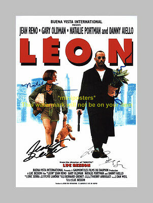 "Leon Cast X4 Pp Signed Poster 12""x8"" Jean Reno N2"