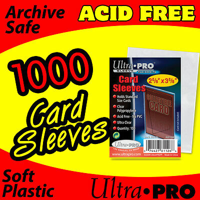 1000 Ultra Pro Baseball Sports Card Soft Penny Sleeves 2 5/8 X3 5/8 1,000 81126