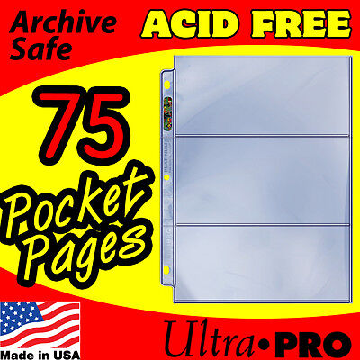 3 Pocket Currency Storage Pages Ultra Pro Platinum 75