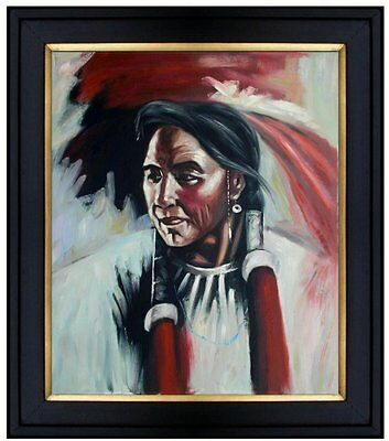 Framed Hand Painted Oil Painting Portrait of a Native American 20x24in