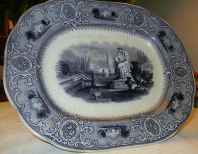 Antique 1845 Sydenham by J. Clementson England Mulberry Platter FLOW BLUE