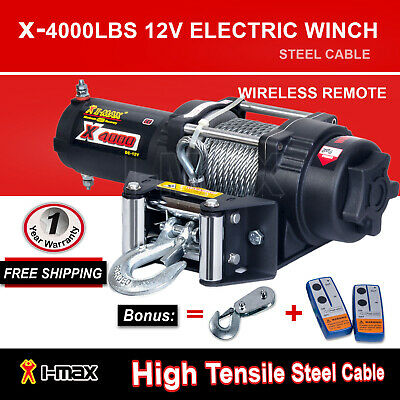Wireless 4000LBS/1814kg 12V Electric Winch Steel Cable Boat ATV 4WD 4x4 Trailer