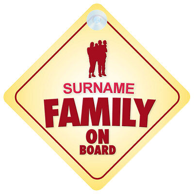 Family On Board Car Sign - Option to Personalise