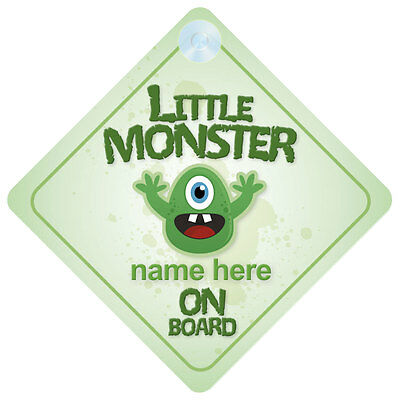 Little Monster On Board Personalised Child Car Sign