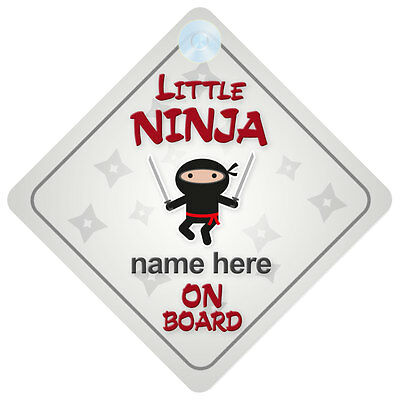Little Ninja On Board Personalised Baby Boy Car Sign