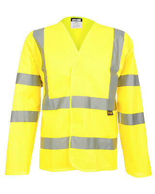 Mens Hi Vis Long Sleeve Safety Vest Waistcoat Size S to 4XL Yellow or Orange 802
