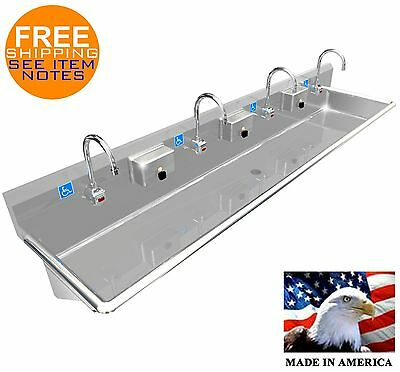 "Ada 4 Users 84"" Hand Wash Sink Electr. Faucet Hands Free Wall Mount. Made In Usa"