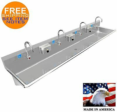 "Ada 4 Users 96"" Hand Wash Up Sink, Electronic Faucet, Wall Mount Made In America"