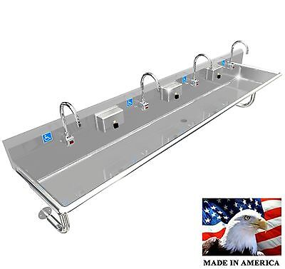 "Ada 4 Person 96"" Hand Wash Up Sink Electronic Faucet Wall Mount Made In America"