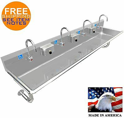 "Ada 4 Person 84"" Hand Washing Sink Electronic Faucet, Wall Mount Made In America"