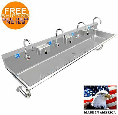 "Ada 4 Person 80"" Hand Washing Sink Electronic Faucet Stainless Steel Made In Usa"