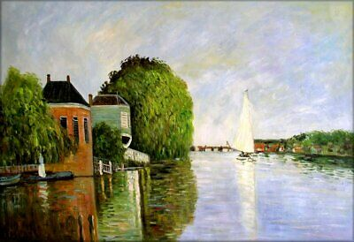 Claude Monet Landscape near Zaandam Repro, Hand Painted Oil Painting 24x36in