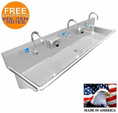 "Ada 3 Users 72"" Hand Wash Sink (Lavatory) Electr. Faucet Hands Free Made In Usa"