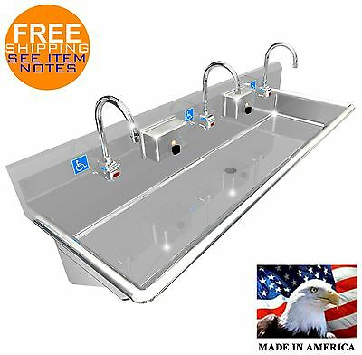 "Ada 3 Users 60"" Hand Wash Sink Lavatory Electronic Faucet Hands Free Made In Usa"
