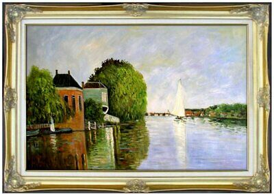 Framed Monet Landscape near Zaandam Repro, Hand Painted Oil Painting 24x36in