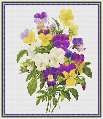 Flower Pansy Bouquet Illustration by Redoute Counted Cross Stitch Pattern