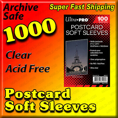 "1,000 1000 ULTRA PRO PREMIUM POSTCARD SLEEVES 3 11/16"" x 5 3/4"" ACID FREE 81225"