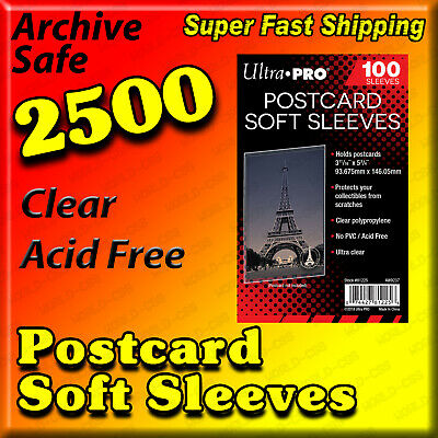 2500 Ultra Pro Postcard Sleeves Archival Safe Acid Free 25 Packs        81225-25