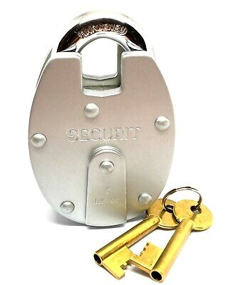 Securit 6 Lever Padlock Close Shackle 65mm Double Plated Heavy Duty B1102 2 keys