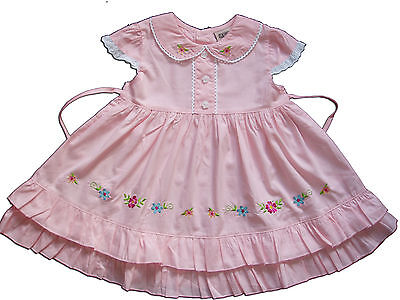 New Baby Girls Cotton Party Dress in Pink,Yellow,White From 6-9 to 18-24 Months