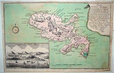 1765 RASPE (Le Rouge) Map MARTINIQUE Inset View of Fort Royal - Uncommon!