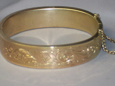 Victorian Gold Filled Hinged Bangle Bracelet With Engraved Design All Around
