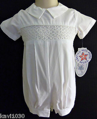 Boys White Christening Baptism Cotton Outfit Smocked Romper & Hat Size 0-24M