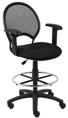 Mesh Drafting Stool Chair Design With Open Back With Adjustable Arms  B16216