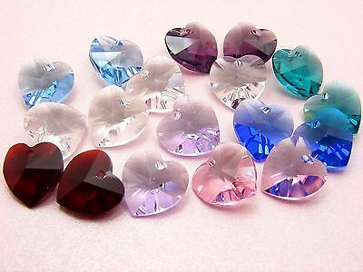 2 x Genuine SWAROVSKI Crystal 6228 HEART Pendants 10mm ~ CLEAR AB or PICK COL ~