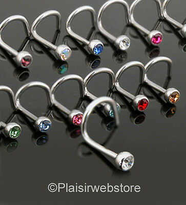 Lot De 14 Piercing Nez Strass Couleur Tous Differents