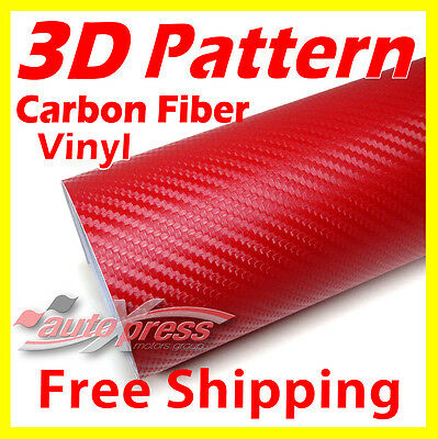 "8"" x 50"" 20cm x 127cm 3D Texture CARBON FIBER Wrap VINYL Decal Sheet RED"