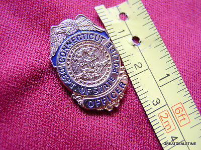Connecticut Ct State Police Officer Mini Proud Gold Eagle Lapel Badge Shield Pin