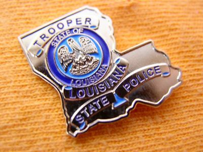 Louisiana State Police Trooper Proud Gold Mini Shirt Lapel Badge Shield Pin 1""