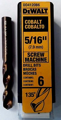 "DeWalt DD4120B6 5/16"" Cobalt Screw Machine Drill Bits 6Pcs. Germany"