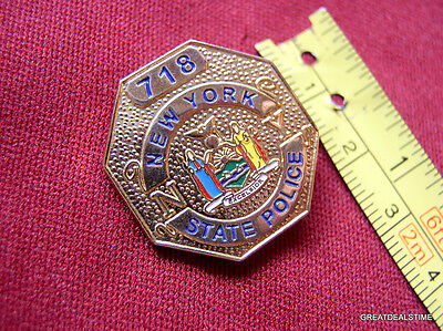 """NEW YORK NY STATE POLICE PROUD GOLD SEAL MINI LAPEL TROOPER BADGE SHIELD PIN 1"""""""