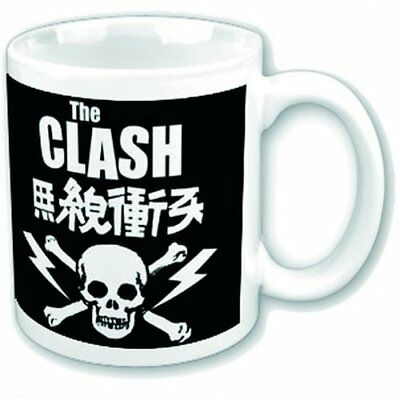 The Clash Skull Crossbones Band Logo Coffee Mug White Black Boxed Fan Gift Cup